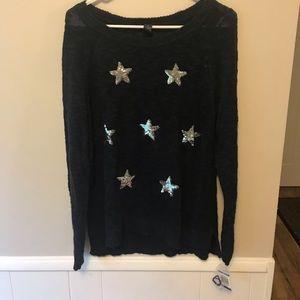INC navy silver sequin star scoop neck sweater